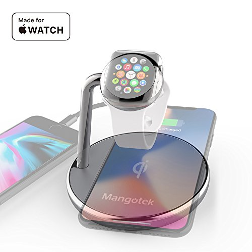 Mangotek Wireless Charger Apple Watch Stand,Qi Fast Wireless Charging Docking Pad with iWatch Magnetic Charger Module and USB Port for iWatch,iPhone X/8/8 Plus,Samsung Galaxy 8,MFi Certificated