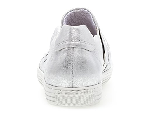 Gabor Actor Womens Slip On Trainer Shoes Silver Silk Metallic KMzqXFCA