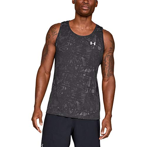 Athletic Singlet - Under Armour Men's Streaker Printed Singlet, Charcoal (020)/Reflective, Small