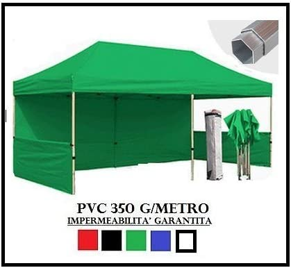 RAY BOT - Cenador plegable verde de aluminio hexagonal 40 mm 3X6 + 4 lonas laterales de PVC 350 g metro: Amazon.es: Jardín
