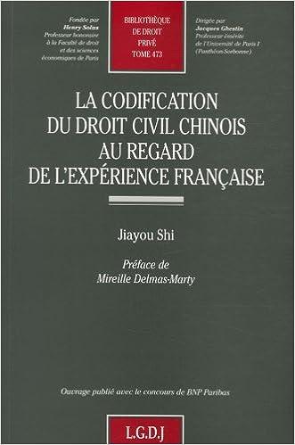 En ligne téléchargement gratuit La codification du droit civil chinois au regard de l'expérience française pdf, epub ebook