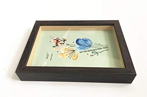- leyoubei 4x6-inch Picture Frame Shadow Box (Slide pin) with Glass Front,for Desktop and Wall Hanging Display Collectibles,Plant Specimen Kid's Souvenirs and Photos (4x6