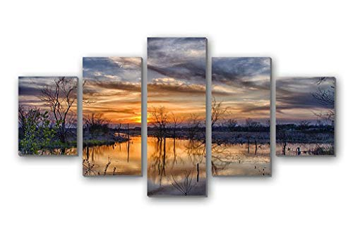 GLITZFAS PRINTS 5 Panel Wall Art Painting - Spring Flood Trees Sunset Sun Clouds - Canvas Stretched with Wooden Frame for Home Decor ()