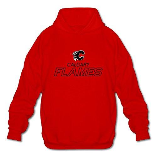 Men's Alberta Calgary Flames Hockey Logo Hoodie Sweatshirt Red (Hockey Logo Hoodie Sweatshirt)