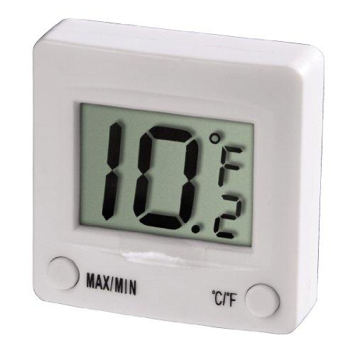 Xavax Digitales Kühlschrankthermometer (zum Kleben im Gefrierschrank, Kühlschrank, Tiefkühltruhe, Weinkühlschrank, Minibar, min. -30 Grad, max. +30 Grad) weiß