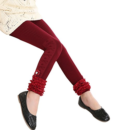 Tulucky Girls Cotton Cable Knit Pants Lace Patchwork Stretchy Teens Leggings