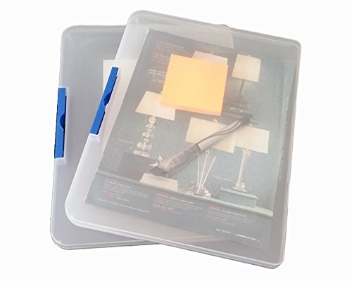 Daiso Japan's Clear Plastic Document Case (A4L) - Clear, Blue Pack of 2