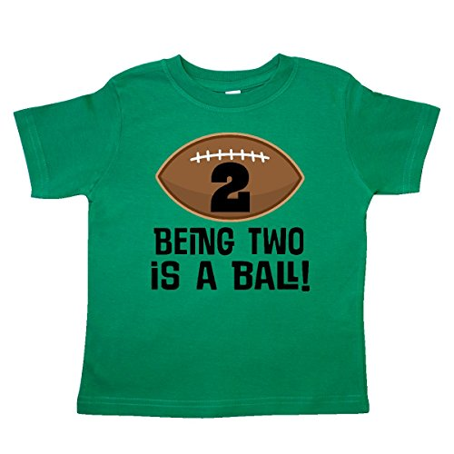 - inktastic - 2nd Birthday Football Sports Boys Toddler T-Shirt 2T Kelly Green