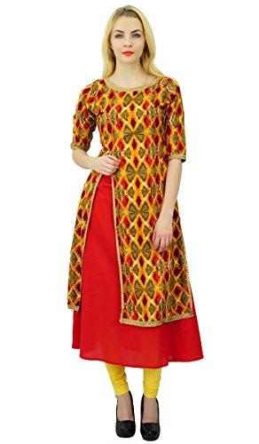 Phagun Mujeres étnico algodón de la tapa modelo abstracto Kurti diseñador vestido de la túnica Kurti Multicolor