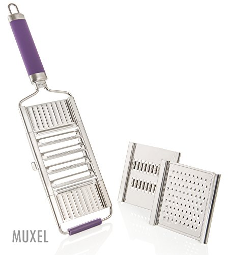 Muxels Gigant 4-fach Hobel mit Restehalter. Der schnelle Gemüse Hobel, der ideale Julienne Schneider und die praktische Parmesan Reibe (Limette)