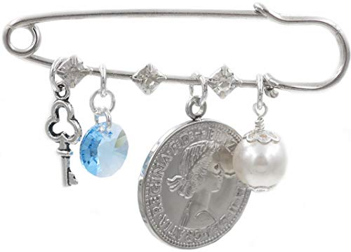 Better Than Buttons Key, Round Blue Crystal, Six Pence, and White Simulated Pearl Bridal Pin
