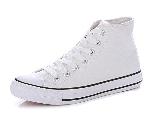 Aisun Womens Classico Casual Sportivo Punta Rotonda Lace Up Scarpe Sneakers Alte Su Tela Piatte Piattaforma Alta Bianco 1