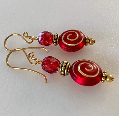 - Red Czech Glass Earrings, Red And Gold Earrings, Ruby Red Czech Glass, Gold Picasso Finish, Holiday Red Earrings, Christmas Red Earrings.