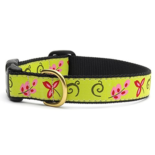 """Green Floral Dog Collar with Quick Release Buckle - X-Small (6""""-12"""") Width 5/8 In"""
