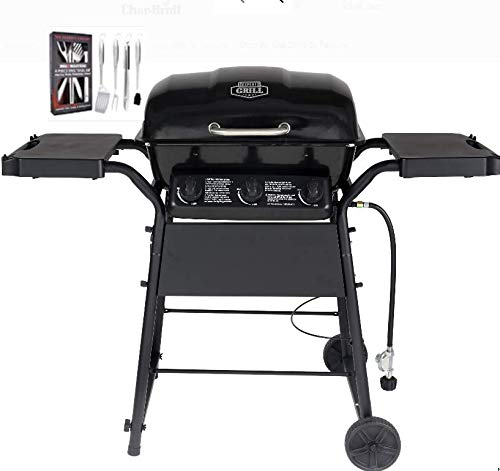 BACKYARD MASTERS Expert Grill 3 Burner 30,000 BTU Gas Grill with Side Shelves, Black with SS Heavy Duty 4 Piece Grill Set