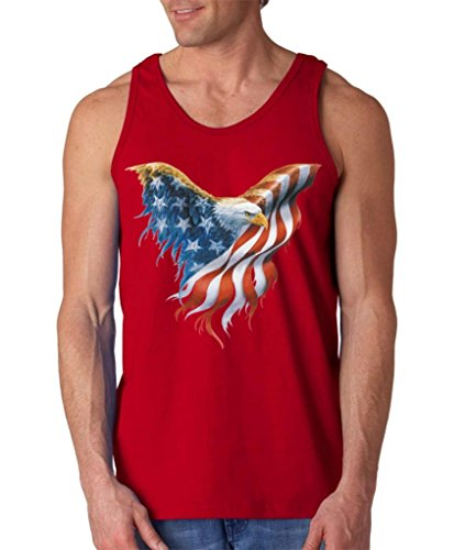 Shop4Ever Eagle USA Flag Men's Tank Top 4th of July Tank Tops Large Red 0
