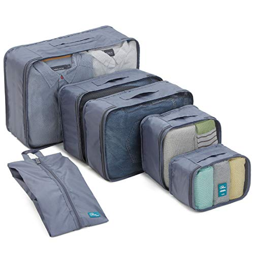 6 Set Packing Cubes/Travel Cubes - Travel Organizers with Shoe Bag-Gray ()