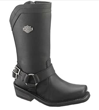 Harley-Davidson Women's Cybill 10-Inch Black Leather Motorcycle Boots D87034 Size 5