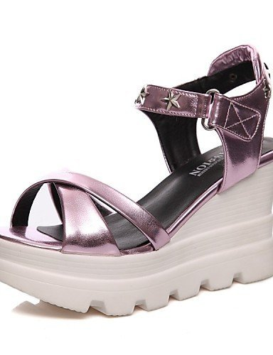 ShangYi Women's Shoes Patent Leather Wedge Heel Wedges / Platform / Slingback / Gladiator / Comfort / Novelty / Ankle Strap / Purple KGGgDF