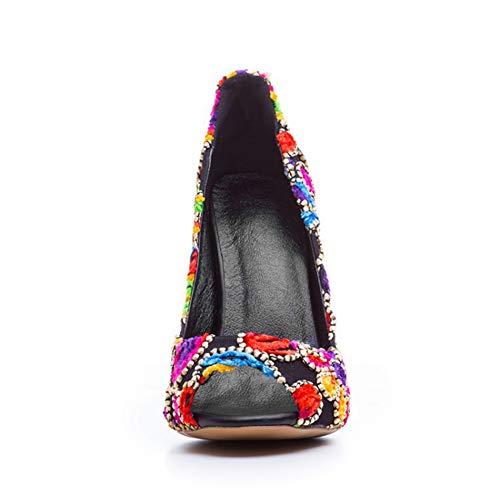 Slim Talon Talons De Personnalité La Bout Femmes Chaussures 12Cm Mode A Bal Longue De Poisson De Simples Chaussures Du Hauts Haut Talon Bouche Tissu Brodé Hauteur Ouvert Journée 1XwfZ4w