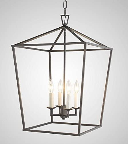 W18 XH25 Steel Cage Large Lantern Iron Art Design Candle-Style Chandelier Pendant, Foyer,Hallway,Ceiling Light Fixture Steel Frame Cage