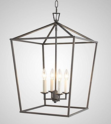 - W18 XH25 Steel Cage Large Lantern Iron Art Design Candle-Style Chandelier Pendant, Foyer,Hallway,Ceiling Light Fixture Steel Frame Cage