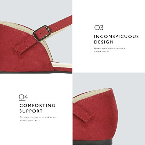 Strap Buckle Toe Ballerina D'Orsay Comfort Casual Pointy Flat Suede DailyShoes Red Shoes Ankle Women's Flats Ballet A0xfXHq