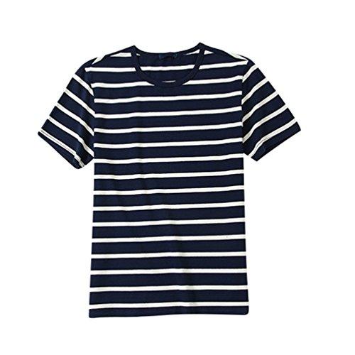 Zkooo T Rayé Neck Hommes Bleu Large Courtes Crew Tee shirt Marin Shirt Manches Casual Shirts Pour T qSqxw5r