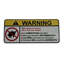 Toyota Twin Cam Engine No bull, warning decal, sticker perfect gift