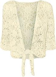 Cima Mode Womens Plus Size Floral Sequin Lace Bolero Cropped Shrugs Top Size 10-22