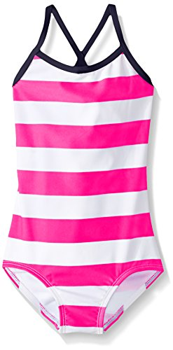 (Kanu Surf Little Girls' Layla Beach Sport Banded One Piece Swimsuit, Pink Stripe, 6X )