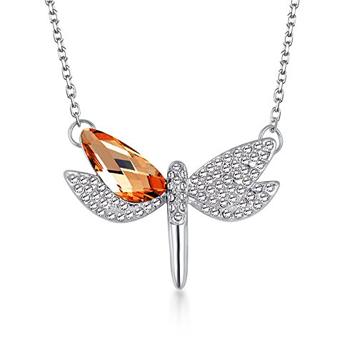 The Starry Night Orange Austrian Crystal Flying Dragonfly Pendant Diamond Accented Silver Lady Necklace