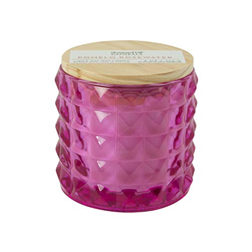Vineyard Hill Naturals Faceted Glass 3-Wick Scented Candle, 8-Ounce, Pomelo & Rosewater