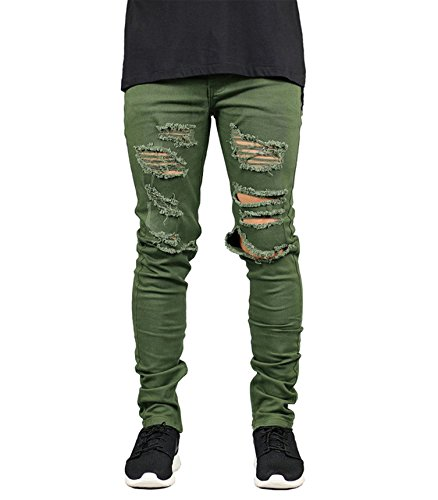 DEITP Men's Army Green Distressed Destroyed Ripped Slim Fit Skinny Stretch Denim Jeans W32 - Green Distressed Crewneck