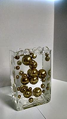 Easy Elegance ALL ANTIQUE GOLD Pearl Beads w/FREE Jelly BeadZ ® Water bead gel pearls ($3.95 Value) - Great for Wedding Centerpieces and Decorations