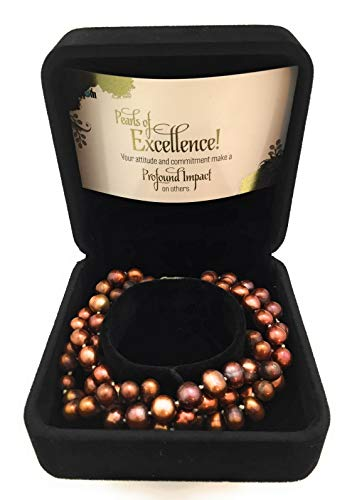 - Smiling Wisdom - Bronze Pearls of Excellence Employee Award & Recognition- 3 Strand Twist Cultured Freshwater Bronze Pearl Bracelet, (6-7mm) w Lobster Clasp - Thank You Appreciation, Employees - New