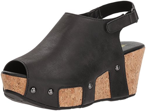 VOLATILE Women's PICADILLY Wedge Sandal, Black, 9 M US