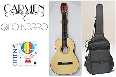 Pack guitarra clásica Carmen Y-20 de tamaño 3/4, con funda negra mochila y juego de cuerdas Gato Negro Kitten para niños de 9 a 12 años: Amazon.es: Instrumentos musicales