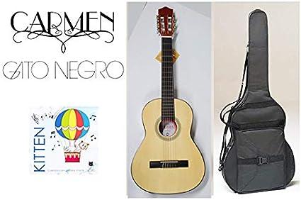 Pack guitarra clásica Carmen Y-20 de tamaño 3/4, con funda negra mochila y juego de cuerdas Gato Negro Kitten para niños de 9 a 12 años