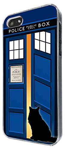 453 - Doctor Who Tardis Call Box Cat Open Door Design iphone 5 5S Coque Fashion Trend Case Coque Protection Cover plastique et métal