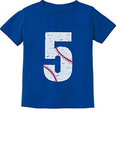TeeStars - Baseball 5th Birthday Gift for Five Year Old Toddler Kids T-Shirt 5/6 Blue ()