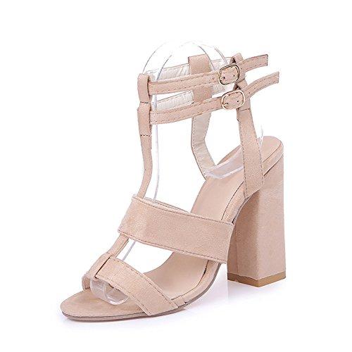 Verano Elegante Playa Tomwell Zapatos Casual Mujeres Sandals Sandalias Toe Fiesta Beige Altos Ancho Moda Shoes De Tacones Tacón Peep xqqpvPI
