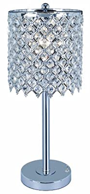 Park Madison Lighting Contemporary Crystal Table Lamp with Polished Chrome Finish and Hand Crafted Shade, 20-Inch