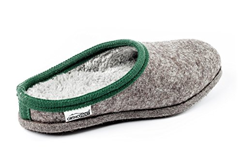 Warm Baita Quality Handmade Wellbeing Grey Open Slippers House with Slip in Feeling green Unisex Orthopant Felt border Fine for Cosy Tyrol of Shoes and Heel South Felt with Breathable Anti Made BqE1xT