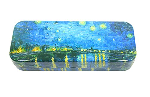 Pencil Tin Case - DAHO Mega Tin Pencil / Storage Box with World Famous Arts for Office, Home, Makeup, Accessories Storage (Starry Night Over the Rhone)