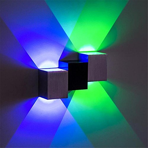 ts, 6W LED Wall Sconce Lights Cubic Body Aluminum Wall Lamp Up and Down Illuminating Wall Sconce Decorative Lamp for KTV Theater Bar, Bedroom and Living Room (Multi-colored) (Flush Amber Mist)