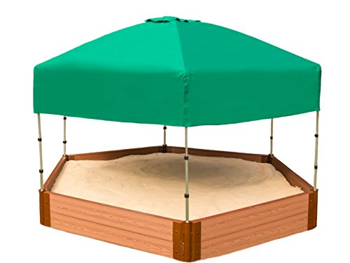 (Frame It All Tool-Free Classic Sienna 7ft. x 8ft. x 11in. Composite Hexagon Sandbox Kit with Telescoping Canopy/Cover - 2