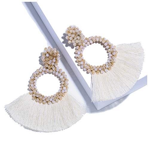 BEST LADY Beaded Tassel Earrings for Women - Statement Handmade Dangle Fringe Earrings for Women, Idea Gift for Sister, Wife and Friends (Cream)