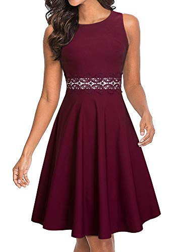 HOMEYEE Women's Sleeveless Cocktail A-Line Embroidery Party Summer Wedding Guest Dress A079 (10, Carmine)