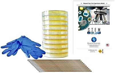Diamante Scientific Essential Plus+ Bacteria Growing Science Kit. Pre-Poured Agar Plates (100mm) & Swabs. Perfect for Kids. Great for Learning About Microbiology. Free Project Guide eBook Available.